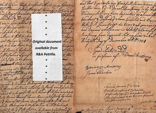 1754 HANDWRITTEN DEED OF SALE BY DANIEL ARMSTRONG TO JAMES HODGE NORWICH, CONNECTICUT. Norwich /...
