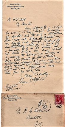 1894 HANDWRITTEN LETTER (ALS) ON GIVING A LECTURE ABOUT HIS BICYCLE RIDE THROUGH ENGLAND. Edgar...