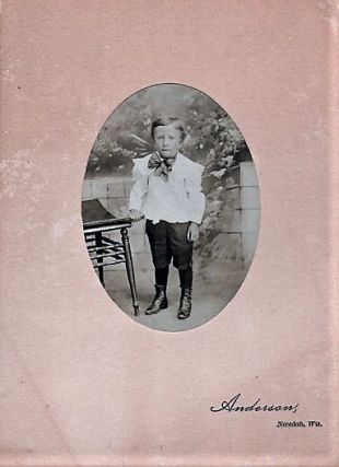 SEPIATONE STUDIO PHOTOGRAPH OF A YOUNG BOY, TAKEN BY ANDERSON OF NECEDAH, WISCONSIN, CIRCA 1890s....