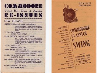 TWO (2) DISCOGRAPHIES OF JAZZ CLASSICS: Commodore United Hot Clubs of America Re-Issues, and...