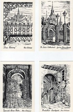 SET OF EIGHT (8) PEN AND INK SKETCHES OF FRENCH-QUARTER SCENES, DRAWN BY LOUISE SARRAZIN.