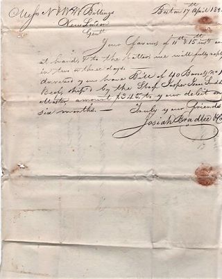 HANDWRITTEN LETTER TO N&WW BILLINGS REGARDING SHIP'S SUPPLIES, DATED AT BOSTON, 17 APRIL 1828....