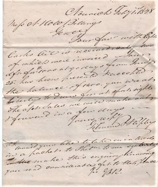 HANDWRITTEN LETTER TO N&WW BILLINGS REGARDING WHALE OIL, &C., DATED AT NORWICH, FEB'Y 1st, 1828....