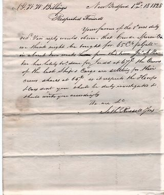 HANDWRITTEN LETTER TO N&WW BILLINGS REGARDING CRUDE WHALE OIL, &C., DATED AT NEW BEDFORD, 1st....