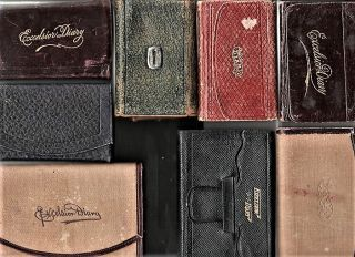 GROUP OF NINE (9) HANDWRITTEN DIARIES, 1876-1913. SHOWING HOW A WIDOW MANAGES ON HER OWN BY...