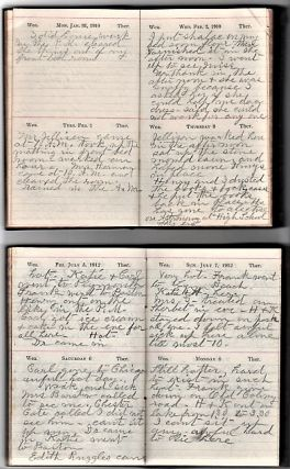 GROUP OF NINE (9) HANDWRITTEN DIARIES, 1876-1913. SHOWING HOW A WIDOW MANAGES ON HER OWN BY SEWING, RUNNING BOARDING HOUSES, RAISING POULTRY, &C. FROM NEW HAMPSHIRE, AND ON TO POMONA AND PASADENA, CALIFORNIA.