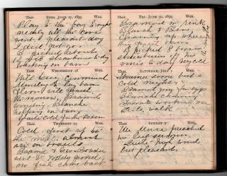 HANDWRITTEN DIARY OF 1899, WRITTEN MOSTLY IN A WOMAN'S HAND, FROM HOME IN PENOBSCOT, MAINE TO A ...
