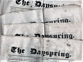 """THE DAYSPRING"" -- GROUP OF FOUR (4) ISSUES: VOL. I, NO. 4; VOL. II, NO. 1; VOL. II, NO. 2; ..."