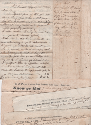 GROUP OF SIX (6) HANDWRITTEN LEGAL DOCUMENTS, DATED 1818-1843, FROM THE FAMILY OF BLACKSMITH...