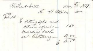 1879 HANDWRITTEN COACHMAKER'S BILL FOR WORK ON A BUGGY BELONGING TO RICHARD WATSON. I. Bleiler
