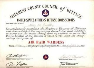 ALLEGHENY COUNTY COUNCIL OF DEFENSE...HELEN W. WORTHING...IS ENTITLED TO WEAR THE OFFICIAL EMBLEM OF...AIR RAID WARDENS. Citizens' Defense Corps.
