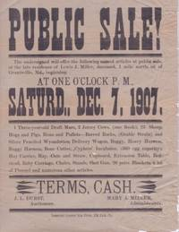 PUBLIC SALE...LATE RESIDENCE OF LEWIS J. MILLER, DECEASED, ONE MILE NORTH OF GRANTSVILLE,...