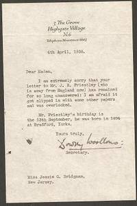 SECRETARIAL LETTER (TLS) ON HIGHGATE VILLAGE LETTERHEAD, 4 APRIL 1938, SIGNED BY DOROTHY WOOLENS,...