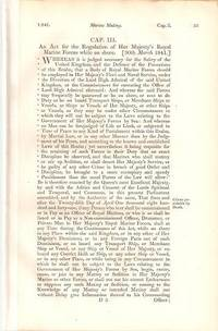 AN ACT FOR THE REGULATION OF HER MAJESTY'S ROYAL MARINE FORCES WHILE ON SHORE (30th March 1841);...