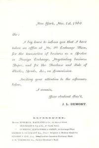 Engraved advertising letter, announcing his office in New York City for the transaction of...