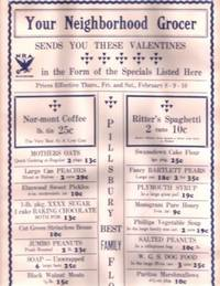 Broadside: YOUR NEIGHBORHOOD GROCER SENDS YOU THESE VALENTINES IN THE FORM OF THE SPECIALS LISTED...
