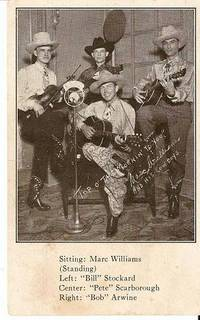 HEAR MARC WILLIAMS AND HIS COWBOYS:; Postcard. Marc Texas / Williams.